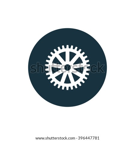 Vector illustration of gear icon on dark circle background, white gear icon, gear icon button, vector gear icon, gear icon image, gear icon badge, gear icon sign, gear icon  logo, gear icon design - stock vector