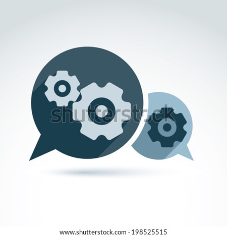 Vector illustration of gears - enterprise system theme, organization strategy concept. Cog-wheels and moving parts placed in a speech bubble chat on business process and management.  - stock vector