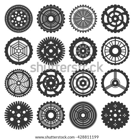 Vector illustration of gears set in steam punk style. 16 isolated on white cogwheels silhouettes. Fully editable file for cards, subculture accessories, t shirts print design and your other projects. - stock vector