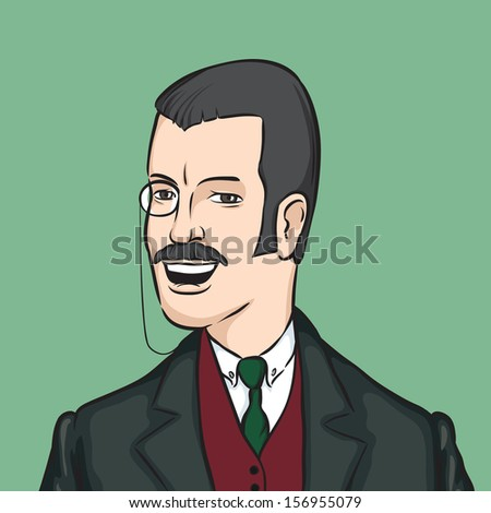 Vector illustration of gentleman with moustaches and monocle. Easy-edit layered vector EPS10 file scalable to any size without quality loss. High resolution raster JPG file is included. - stock vector
