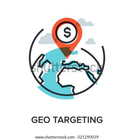 Vector illustration of geo targeting flat line design concept. - stock vector