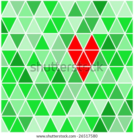 Vector illustration of geometric background with heart. - stock vector
