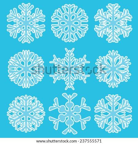 Vector illustration of Geometric blue Snowflakes set - stock vector