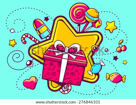 Vector illustration of gift box and confection  on green background with star and dot. Hand draw line art design for web, site, advertising, banner, poster, board and print.   - stock vector