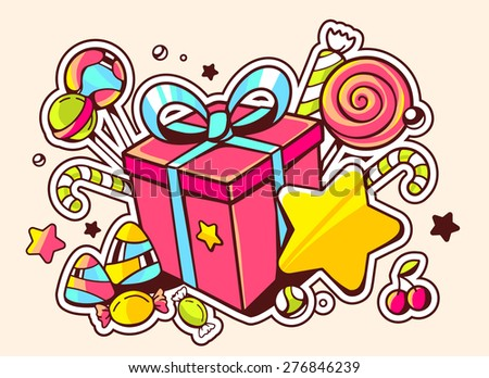Vector illustration of gift box and confection  on light background with star and dot. Hand drawn line art design for web, site, advertising, banner, poster, board and print.   - stock vector