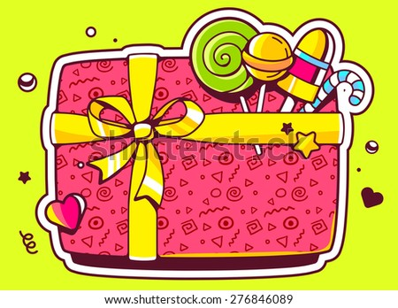 Vector illustration of gift box top view and confectionery on green background. Hand draw line art design for web, site, advertising, banner, poster, board and print.   - stock vector