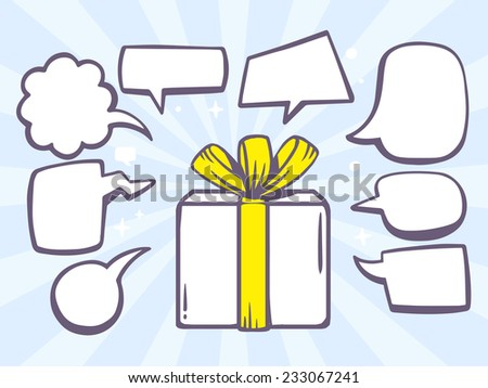 Vector illustration of gift box with speech comics bubbles on blue background. Line art design for web, site, advertising, banner, poster, board and print. - stock vector