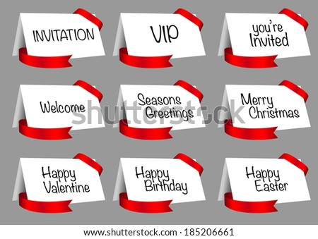 Vector illustration of gift card, greeting card, invitation card design with red decorative ribbon.