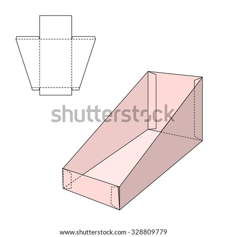 Vector Illustration of Gift craft Box for Design, Website, Background, Banner. Folding package Blank Displays Template. Empty Fold pack with die line for your brand on it - stock vector