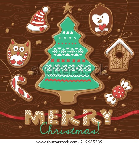 Vector Illustration of Gingerbread Cookies. Christmas greeting card - stock vector