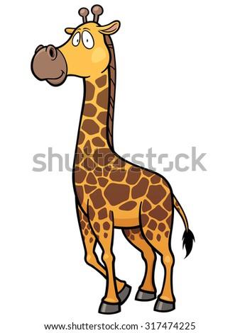 Vector illustration of giraffe cartoon - stock vector
