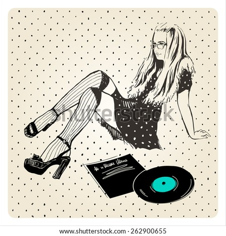 vector illustration of girl in glasses with vinyl recorder, hand drawn - stock vector