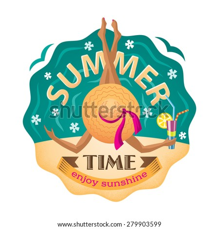 """Vector illustration of girl in hat on the beach with a cocktail and inscription """" Summer time. Enjoy sunshine"""". - stock vector"""