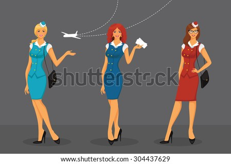 Vector illustration of Girl in stewardess uniform - stock vector