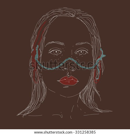 Vector illustration of girl on brown background. Vector image.