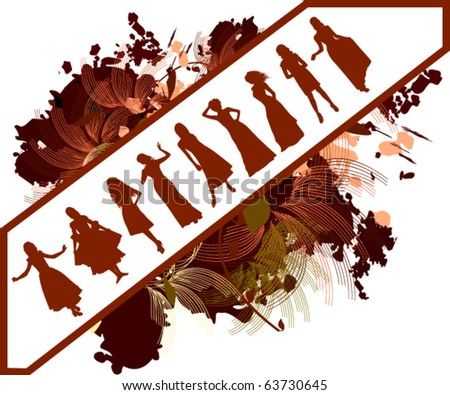 vector illustration of girls - stock vector