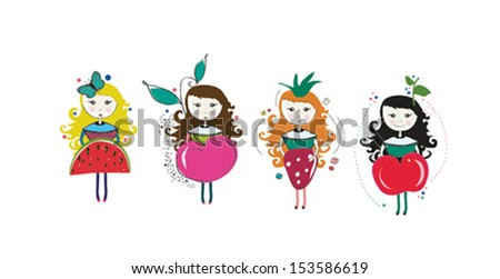 Vector illustration of girls in strawberry, apple, watermelon and cherry costumes. - stock vector