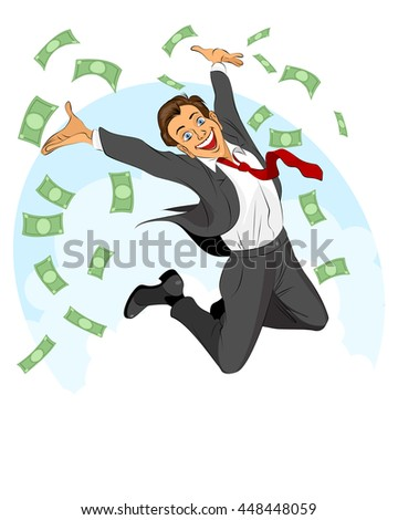 Vector illustration of glad businessman jumping