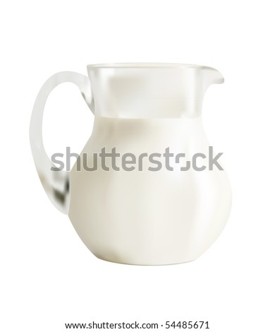 Vector Illustration of Glass jar with milk. Mesh. - stock vector