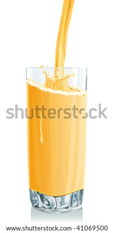 Vector illustration of Glass stream orange juice and drops. Gradient only. No mesh. It is organised on levels. Serio of images. Look my portfolio for reception of many images at this theme. - stock vector