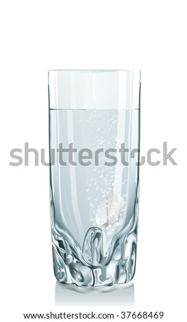 Vector illustration of glass with clean water, tablet and bead. Serie of images - stock vector