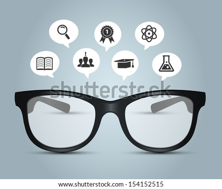 Vector illustration of Glasses with education icons - stock vector
