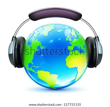 Vector illustration of global music concept with shiny earth and headphones on it