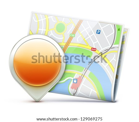 Vector illustration of global navigation concept with city map and glossy location pointer icon - stock vector