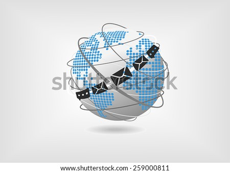 Vector illustration of globe with dotted world map and messaging and mail icons. Concept of unified collaboration and communication.  - stock vector