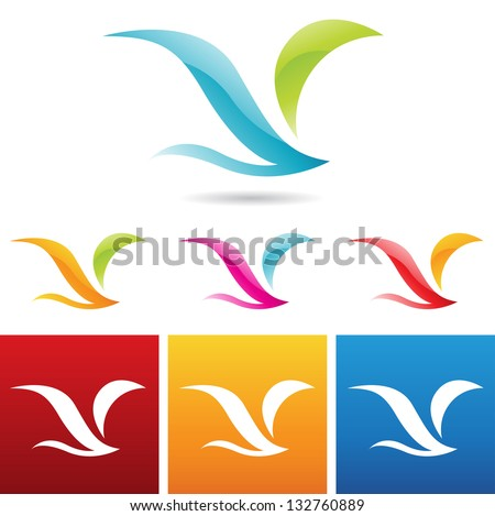 vector illustration of glossy abstract bird icons - stock vector