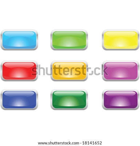 Vector illustration of glossy buttons with metallic border. For jpeg version, please see my portfolio. - stock vector
