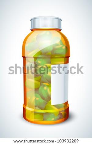 vector illustration of glossy capsule in plastic bottle against white background - stock vector