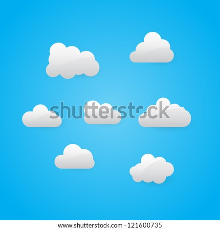 Vector illustration of glossy clouds collection - stock vector