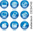 Vector illustration of glossy multimedia icon set. - stock photo