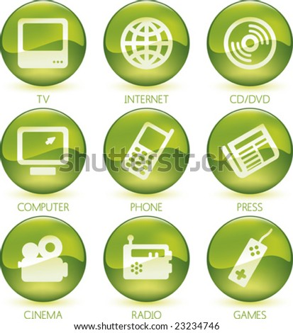 Vector illustration of glossy multimedia icon set.