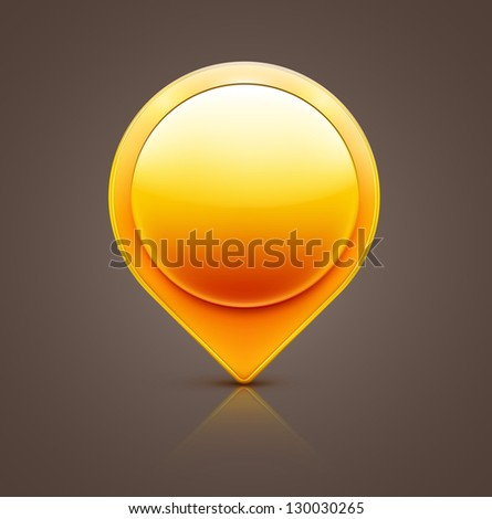 Vector illustration of glossy orange map location pointer icon - stock vector