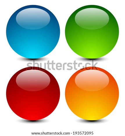 vector illustration of 4 glossy, shiny sphere icons - stock vector