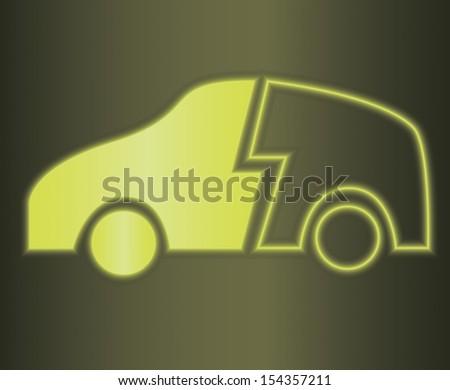 Vector illustration of glowing hybrid car symbol - stock vector