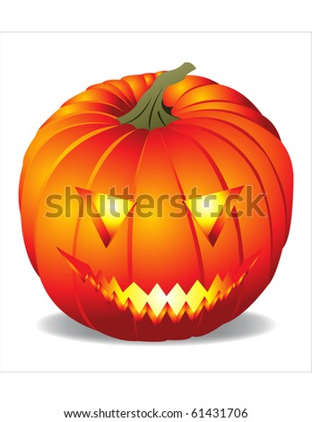 Vector illustration of glowing pumpkin head - stock vector