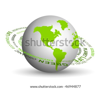 Vector illustration of Go green concept with globe - stock vector