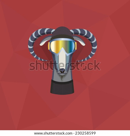 Vector illustration of goat, symbol of 2015. Element for New Year's design