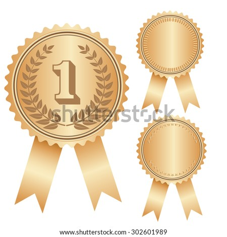 Vector illustration of gold and red  medal award