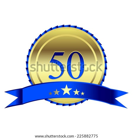 Vector illustration of Gold Award with blue ribbon. 50 - years anniversary