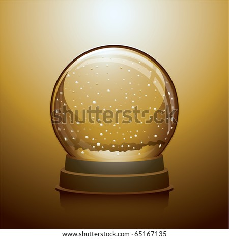 Vector illustration of gold Christmas snowglobe - stock vector