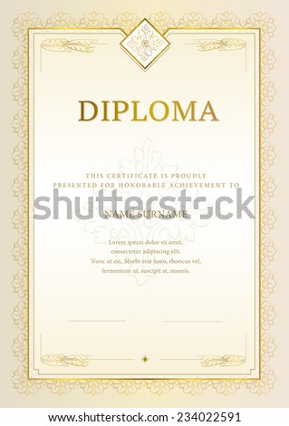 Vector illustration of gold detailed Diploma - stock vector