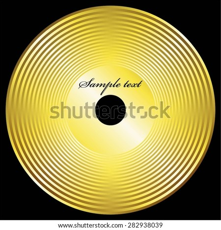 Vector illustration of Gold disc on a black backdrop - stock vector