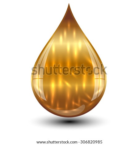 Vector illustration of gold drop - stock vector