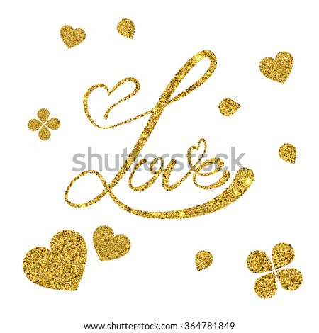 Vector Illustration of Gold Dust Valentine's day Lettering card for Design, Website, Background, Banner. Heart Element Template for Shiny Golden Love Typography Valentine or Invitation to Marriage.