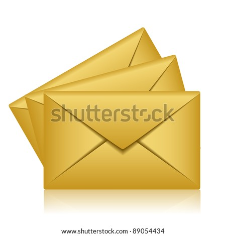 Vector illustration of gold envelopes