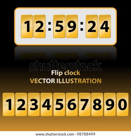Vector illustration of gold flip clock. Description and background are in separate layers. - stock vector